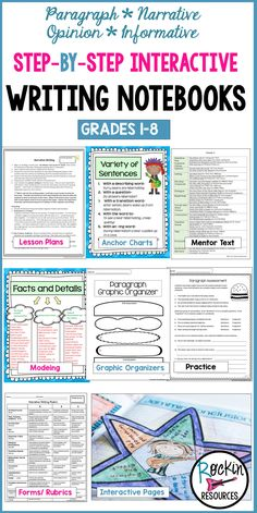 This NO PREP writing program will guide you through a year of writing lessons. It is a COMPLETE writing workshop with step-by-step mini lessons. Every lesson builds upon the previous skill within one piece of writing, which give students a thorough understanding of how to effectively put writing together. There are bundles aligned for each Grade 1-8 and includes a Mentor Text Booklet with ALL grade levels. Students are motivated with the interactive writing notebooks!