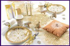 Tischläufer, Tischdekoration, goldene Tischdecke, Organza Orientalisch Gold
