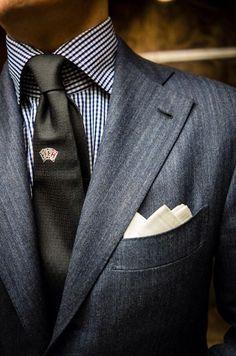 Men's Charcoal Blazer, White and Black Gingham Dress Shirt, Black Tie, White Pocket Square Sharp Dressed Man, Well Dressed Men, White Pocket Square, Mens Fashion Blog, Men's Fashion, Classic Fashion, Fasion, Dress For Success, Suit And Tie