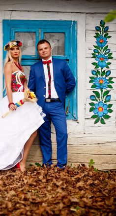 Not Baltic, but too adorable not to include! Polish Wedding Photo Shoot in Zalipie Painted Village, Poland Polish Folk Art, Folk Fashion, We Are The World, Polish Pottery, Wedding Photoshoot, House Painting, Traditional Dresses, Just In Case, Wedding Styles