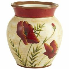 Poppies Utensil Holder I could also use this for a vase with flowers for a centerpiece...