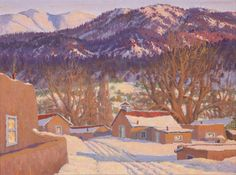 "Carl von Hassler (1887-1969) - Setting Sun Glow - Valley of Questa, NM Oil on Canvas circa 1950 18 "" x 24 ""  PDC91704-119-101  $21,500"