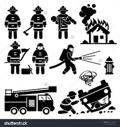 Firefighter Fireman Rescue Stick Figure Pictogram Icons Stock ...