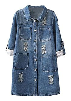 ALLEGRA Women's Trench Coat Long Roll Up Sleeve Denim Fashion Top Outerwear ,Blue 4X-Large * Check this awesome product by going to the link at the image.
