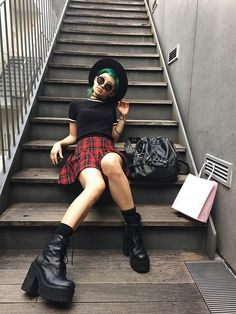 Get this look: http://lb.nu/look/7762758  More looks by Chiemi Ito: http://lb.nu/chiemi13  Items in this look:  Unif Choke Boots, Unif Bound Bag, Tokyo Paradox Wide Brim, Forever 21 Top