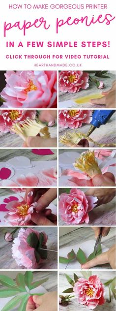 In need of a Paper peony tutorial & paper peony template? This paper peony DIY is an excellent guest post created for Heart Handmade because we love Paper Flowers DIY tutorials. Create your own paper flower wedding decorations or even a f Paper Flowers Wedding, Diy Wedding Bouquet, Crepe Paper Flowers, Diy Bouquet, Wedding Paper, Handmade Flowers, Diy Flowers, Flower Diy, Pretty Flowers