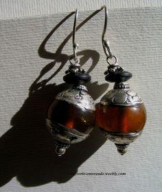 Anciennes Boucles Tibétaines en Ambre et Argent 925. Antique Amber Errings.  #Ethnique