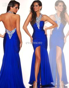Wholesale Blue Dress - Buy Pure Long Blue Chiffon Halter Backless Evening Dresses Mermaid Prom Dresses Beaded Long Sexy Gown, $128.0 | DHgat...