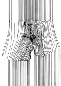 Half-formed nude bodies and faces appear in the barcode-like pen strokes of Nester Formentera.
