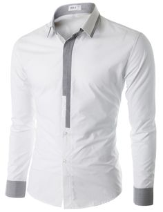 Doublju Men's Long Sleeve Button Down Dress Shirt (CMTSTL02) #doublju