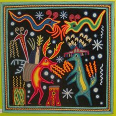Huichol yarn painting - mine is very similar to this one in the photo