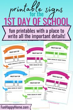 Whether your kids are heading back to the classroom or gearing up for some more e-learning, make sure to print these First Day of School Printable Signs! There are 8 printable pages to choose from! #backtoschool #bts #printables #1stdayofschool #funhappyhome Back To School Teacher, 1st Day Of School, Going Back To School, My Teacher, School Fun, Activity Ideas, Craft Activities For Kids, Science Fair Experiments, School Signs