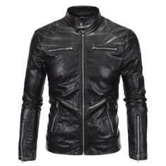 new bomber Jacket black motorcycle Men 2017 softshell Spring PU Leather Fur coat waterproof Winter brown Black pure color autumn #Affiliate