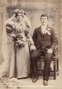 Late Victorian antique wedding photo.