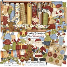 Digital scrapbooking christmas stitch and card making christmas stitch kit FQB - Homespun Holidays Collection