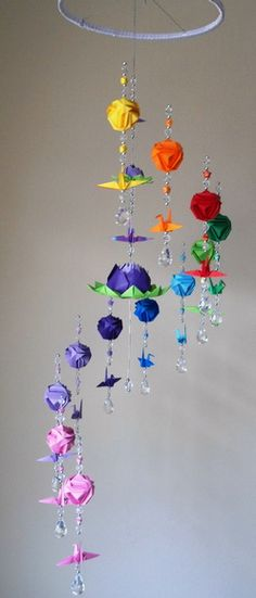 Arts And Crafts Ideas For Halloween Product Crafts For 3 Year Olds, Crafts For Boys, Diy And Crafts, Arts And Crafts, Paper Crafts, Fun Crafts, Origami Mobile, Hanging Mobile, Diy Wall Decor