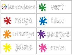 Colors French - Tracing Practice - laminate and use dry erase markers