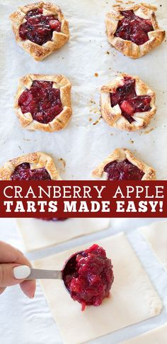 Easy cranberry apple tarts are a delicious festive dessert perfect all fall and winter long. #cranberry #apple #pie #tart Apple Cranberry Pie, Cranberry Recipes, Apple Recipes, Apple Pie, Easy Pie Recipes, Fall Recipes, Baking Recipes, Dessert Recipes, Thanksgiving Recipes