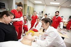 University of Arkansas nursing students learn in the simulation laboratory at the Epley Center for Health Professions.