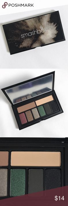 Smashbox Covershot Palette: the Smokey Eye Smashbox Covershot Smokey Palette includes 8 eyeshadows. Still has mirror protector. Black eyeshadow used twice, but all other shadows never swatched! Like new condition. Xx Smashbox Makeup Eyeshadow