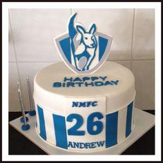 North Melbourne Kangaroos AFL Fondant Birthday Cake