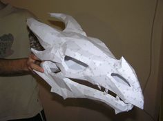 Only the Dragonborn may slain a dragon as he is the one born with the blood and soul of a Dragon.  This dragon bone skull model here is made based on The Elder Scrolls V: Skyrim video game where dragon is the most powerful being that once annihilated humans off the earth. Every time a dragon got slaughtered by a Dragonborn in the game, what remains after is just dragon bones and skulls. The skulls then look exactly like this model we have here. Dragon bone skull paper craft requires 47…