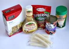 Pizza Pasta Salad  16 oz. rotini pasta  1 cup pepperoni, diced (Use a 5 oz bag of the mini pepperonis to save time)  1 can olives, sliced  1 cup mozzarella, cut into small pieces (Use about 6 string cheeses-they work so great for this!)  1/4 cup Parmesan cheese  1 cup tomatoes, diced  1 bottle of Bernstein's Restaurant Recipe Italian Dressing
