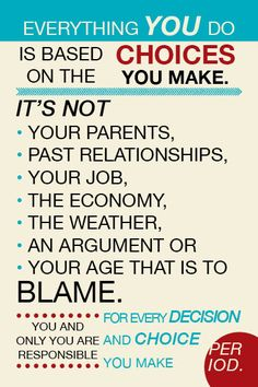 Everything you do is based on the choices you make. Its not your parents, past relationships, your job, the economy, the weather, an argument, or your age that is to blame. You and only you are responsible for every decision and choice you make. Period.  - Created by Kameron Sawyer #choices #poster #choice #24x36 #print