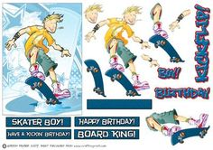Skater Skateboarding Teen Dude Blue  on Craftsuprint designed by Gordon Fraser - Skater Dude showing some wicked moves at the skatepark! Easy decoupage to add depth, with various sentiments, blank tile, and some graffiti text to boot! Great for any kid or teenager who's into boarding! Party on Dudes!  - Now available for download!
