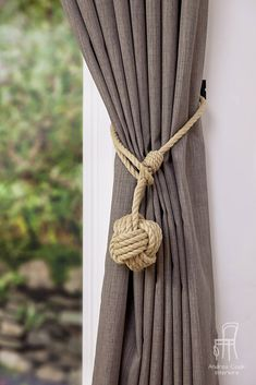 Large Monkey Fist Knot Hemp Rope Curtain Tieback/ Rope Ties/Shabby chic ties/ Holdbacks/Shabby Chic window/ rustic ties /nautical decor by AndreaCookInteriors on Etsy