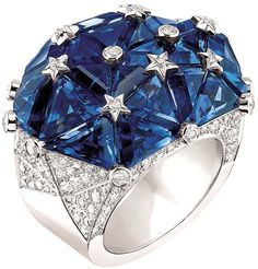 "Chanel ""Facettes"" ring in 18-karat white gold set with 158 brilliant-cut diamonds for a total weight of 2.3 carats and 27 fancy-cut sapphires for a total w eight of 21.4 carats"