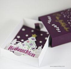 Weihnachtliche Grußschachtel, ähnlich einer Streichholzschachtel - Christmas Greetingbox, similar to a match box, with Material from Stampin Up!