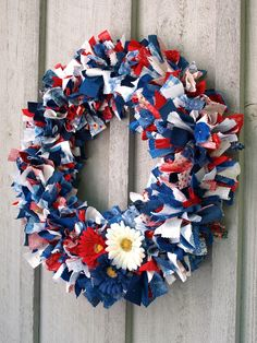 Easy Fabric Wreath for the Fourth of July