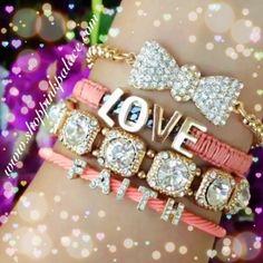 Set of four separate bracelets. Adjustable/ elastic stretch.