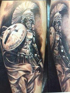 What does gladiator tattoo mean? We have gladiator tattoo ideas, designs, symbolism and we explain the meaning behind the tattoo. Templar Knight Tattoo, Black Tattoos, Body Art Tattoos, Spartan Helmet Tattoo, Gott Tattoos, Religious Tattoos For Men, Warrior Tattoos, Warrior Tattoo Sleeve, Gladiator Tattoo