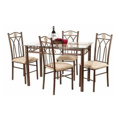 Have to have it. Crown 5 Piece Glass Top Dining Table Set - $196.04 @hayneedle