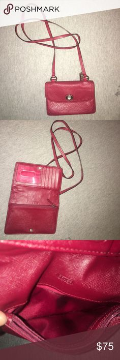 Coach red cross body purse small red coach cross body purse with lots of card slots! small stain on internal pocket Coach Bags Crossbody Bags