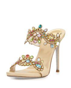 Jeweled Two-Band Mule Sandal, Multi