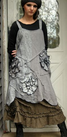 Gray Wavy Flower Dress XL by sarahclemensclothing on Etsy, $149.00