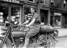 Ester Stevens of Newark, New Jersey poses on her Harley-Davidson motorcycle.