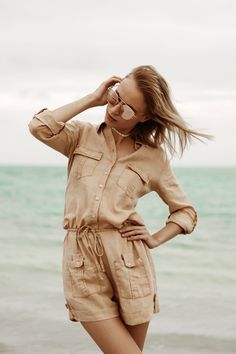 ece8243ad08a 100% Linen Button Down Romper With Pockets and Drawstring in Khaki