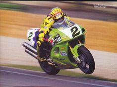 Scott Russell - ZX750R - Muzzy Kawasaki. I've watched him ride SO many times. I sat in the bleachers at New Hampshire Motor Speedway during an AMA race, all alone with my umbrella, while the rain came down in buckets. Didn't stop Scott Russell..a nice young man.