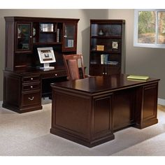 Espresso Four Piece Office Group #officefurniture