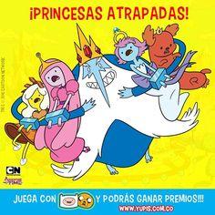 El Rey Helado ha atrapado a estás lindas princesas ¿sabes cuáles son?, recuerda que en tus #Yupis tienes códigos para obtener más vidas y así poder seguir ganando puntos en el juego #EsHoraDeAventuraConYupis. Entra a www.yupis.com.co y juega sin parar. @cartoonnetworkla #Yupis