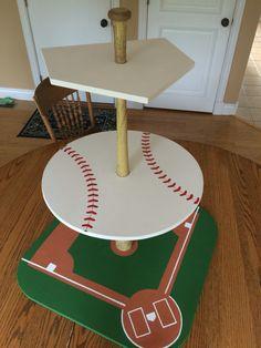 Baseball cupcake display