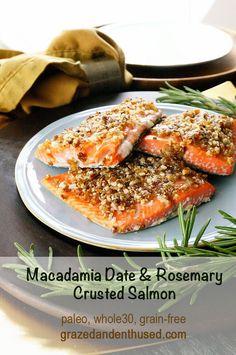 Macadamia Date & Rosemary Crusted Salmon paleo, whole30, grain-free grazedandenthused.com