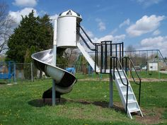 Amazing faded shot of a deluxe Hamburglar spiral slide, with stairs and a middle platform, from the 80s McDonald's playgrounds. Found in Lockington, Ohio and photographed by Scott in 2009.