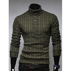 Half Button Up Stand Collar Twist Sweater