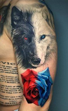 Die 230 besten Wolf Tattoos im Internet [Femininas e Masculinas] Wolf Tattoos Men, Native Tattoos, Badass Tattoos, Animal Tattoos, Body Art Tattoos, Tattoos For Guys, Wolf Tattoo Sleeve, Chest Tattoo, Arm Tattoo