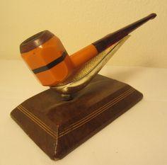 Vintage Retro Burnt Orange Octagon Panel Briar Liner Estate Tobacco Smoking Pipe